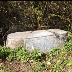 Old tin bath. We have a smaller one to bath the children and for them to splash in. Love it.