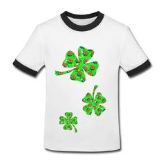 Smurfs Lucky Clover White/black Ringer T-shirt For Kid on Sale-Holidays & Occasions T-shirts and More than 80 thousands of design ideas online, go http://hicustom.net  to Find t-shirt and easily custom your own t-shirts .No Minimums, and Free Shipping.