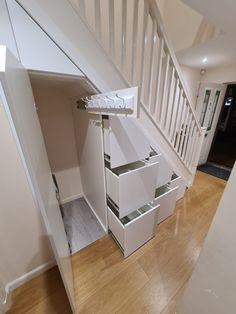 Home Stairs Design, Home Room Design, Home Interior Design, Hallway Ideas Entrance Narrow, Modern Hallway, Under Stairs Storage Solutions, Under Stairs Cupboard Storage, Under Stairs Drawers, Room Under Stairs