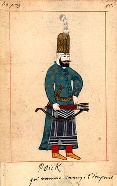 The 'Rålamb Costume Book' is a small volume by an undidentified Ottoman artist, containing 121 miniatures in Indian ink with gouache and some gilding, displaying Turkish officials, occu… Small Canvas, Canvas Art, Empire Ottoman, Mughal Empire, Military Pictures, Turkish Art, Medieval Armor, Military Art, Military History