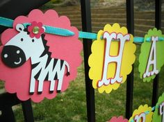 Jungle/Zoo/Safari  Happy Birthday Banner BubblePop by 62Cards, $39.95