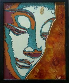 The serene face of Lord Buddha hand painted on acrylic sheet