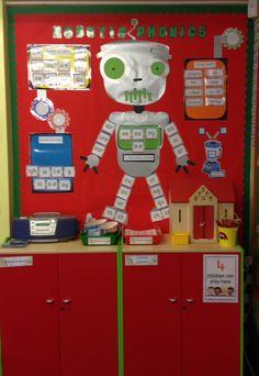 Robotic phonics Robot Classroom, Classroom Displays, Classroom Themes, Phonics Display, Kindergarten Goals, Robot Theme, Space Aliens, Eyfs, Under The Sea