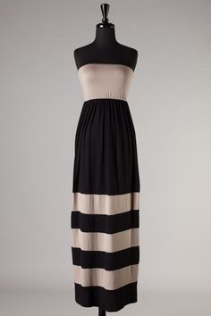 Catch Bliss Boutique - Alyssa Tube Maxi Dress in Taupe/Black, (http://www.catchbliss.com/alyssa-tube-maxi-dress-in-taupe-black/)