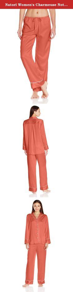 Natori Women's Charmeuse Notch Pj, Orange Coral, XS. Silky car me use long sleeve button down notch pajama set.