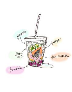 Illustration drink fruits smoothie