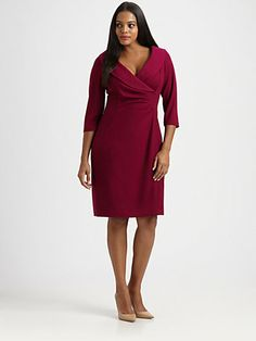 Gorgeous shawl collar knit dress by Kay Unger from Saks.com. The colour is just beautiful and it looks so well cut.  Available up to size 24W.
