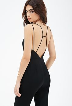 V-Cut Strappy Jumpsuit from Forever 21 Fashion Forever, Open Back Dresses, V Cuts, Black Jumpsuit, Black Is Beautiful, Dream Dress, Jumpsuits For Women, Fashion Beauty, Women's Fashion