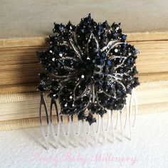 Black hair accessories vintage hair comb by PrettyBabyMillinery, $48.00