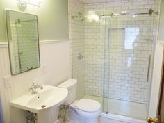 https://www.google.com/search?q=beadboard tile bathroom look at the glass hardware, sliding barn hardware......