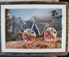 Making a gift of a bicycle: instructions for making a copy- Geldgeschenk Fahrrad basteln: Anleitung zum Nachbasteln Money Gift Bicycle Crafting Instructions - Diy Birthday, Birthday Cards, Birthday Gifts, Craft Gifts, Diy Gifts, Origami Diy, Money Bill, Idee Diy, Diy Presents