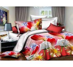 Pościel 3D STANDARD 160 x 200 cm. Czerwone Tulipany KOD-1706-07