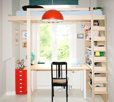 This is a modified version of DIY Loft bed Ana by NeoEko: the bed is elevated and mirrored. Loft Furniture, Space Saving Furniture, Furniture Plans, Furniture Outlet, Furniture Design, Small Space Living, Small Spaces, Double Loft Beds, Loft Beds For Small Rooms