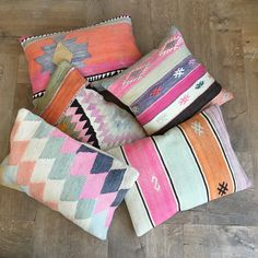 Kilim cushions in candy colours. Kilim Cushions, Throw Pillows, Sing Me To Sleep, Types Of Weaving, Pillow Patterns, Candy Colors, Dream Bedroom, Color Patterns, Macrame