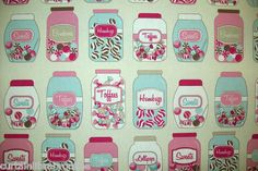 Sweet Jars Curtain Fabric Blue