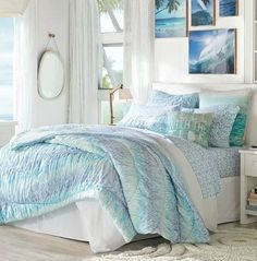 Dress your bed in the motion of the ocean! Click here: http://www.completely-coastal.com/2016/01/beach-coastal-bedrooms-pottery-barn.html