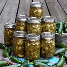 "Pickled Jalapeno Pepper Slices...""These are amazingly easy and so much tastier than the store jars. They keep in the fridge for months; or, can them and they're good for at least a year. Use my printable labels to turn the jars into fun gifts."""