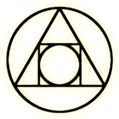 """Alquimia Mental """"A verdadeira transmutação hermética é uma Arte Mental."""" − """"O Caibalion"""" Os círculos representam um todo - os cosmos macro e micro. O triângulo representa a cognição. O quadrado representa a realidade dimensionada. """"Sob as aparências do Universo, do Tempo e do Espaço e da Mobilidade, está sempre encoberta a Realidade Substancial: a Verdade fundamental."""" − """"O Caibalion"""""""