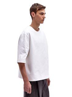 Yang Li Men's Oversized Raw Edge Cotton T-Shirt