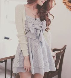 cute blueish dress with a bow