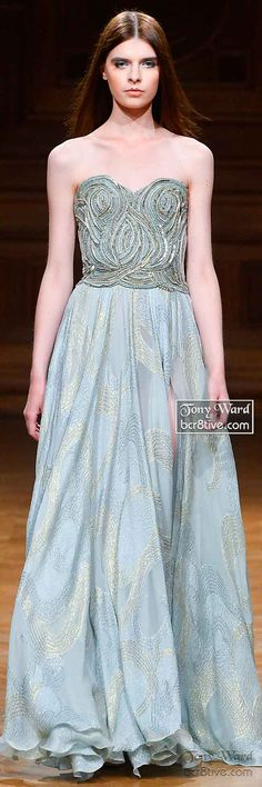 Tony Ward Fall Winter 2014-15 Couture Collection - Mint Green Strapless Beaded Gown