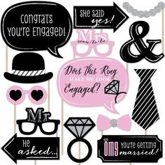 20-Piece Engagement Party Photo Booth Props Kit INCLUDES 20 OMG, You're Getting Married! photo booth props, 20 wooden dowel sticks and adhesives for assembly. EASY ASSEMBLY: Simply attach the printed DIY photo booth props to the wooden dowels with included adhesive and reinforcing stickers. PERFECT FOR ANY CROWD! Photo booth props are fun engagement party supplies for adults and kids - everyone will love the funny faces on these OMG, You're Getting Married! photo booth props. Take… Backyard Engagement Parties, Surprise Engagement Party, Engagement Wishes, Engagement Party Games, Engagement Party Decorations, Engagement Photos, Engagement Ideas, Engagement Celebration, Engagement Balloons