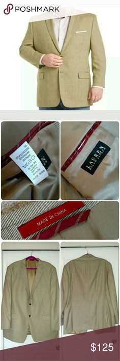 NWOT Ralph Lauren Sport Coat Brand new Ralph Lauren Sport Coat in light brown/tan color. Size 50L. Never worn. Has been hanging in basement closet for a bit. Lined in matching silk, with the red accents in sleeve and pocket. Pockets have not even been cut open. Button detail on sleeve. Two button close. Ralph Lauren Suits & Blazers Sport Coats & Blazers