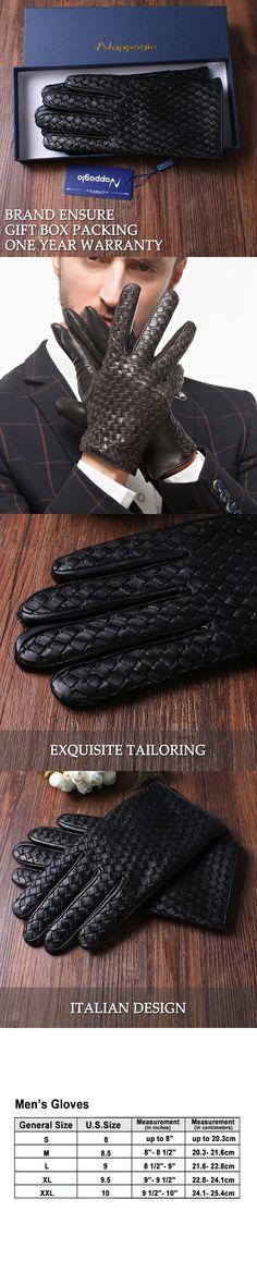 High-end Genuine Leather Gloves Men's Fashion Solid Wrist Sheepskin Glove Men Winter Weave Design Touchscreen non-Touchscreen