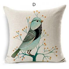 Bird throw pillow pastoral style couch cushion 18 inch