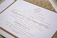 Carolyn & Ross's custom wedding invitations #brown #ivory #wedding #savannah #invitations #monogramdesign www.emmajdesign.com