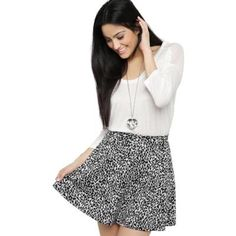 White and Black Print Skater Skirt by Deb. Buy for $16 from Debshops.com