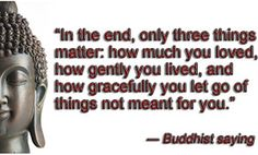 """""""In the end, only three things matter: how much you loved, how gently you lived, and how gracefully you let go of things not meant for you."""" ― Buddhist saying"""