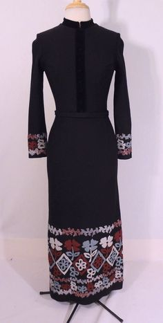 Vintage 1970s 70s Hourglass Black Wool Crewel Embroidered Maxi Dress M #Maxi