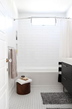 """Having only one bathroom isn't as bad as you'd think. It's really fine for just the two of us. Sometimes when guests come over, it gets a little crowded, but for the most part, we're happy with it,"" Sarah says. ""We did sacrifice a small linen closet during the renovation to expand the bathroom."""