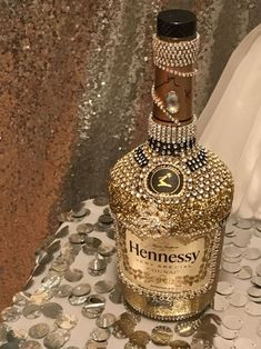 Hennessy bottle Bedazzled Bottle, Bling Bottles, Large Wine Bottle, Glass Bottle, Bottle A… Bedazzled Liquor Bottles, Glitter Champagne Bottles, Decorated Liquor Bottles, Bling Bottles, Alcohol Bottle Decorations, Liquor Bottle Crafts, Liquor Gift Baskets, Hennessy Bottle, Large Wine Bottle