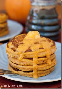 PUMPKIN PANCAKES WITH MAPLE PUMPKIN BUTTER
