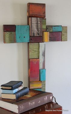 Beyond The Picket Fence: Patchwork, Scrap Wood Cross @Jenna Cooper  - How about Coopers Coolers making me one of these????