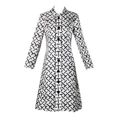 I. Magnin Vintage 1960s Graphic Black   White Print Silk Mod Coat | From a collection of rare vintage coats and outerwear at https://www.1stdibs.com/fashion/clothing/coats-outerwear/