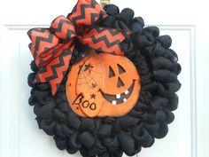 Halloween burlap wreath Halloween decor Black burlap wreath