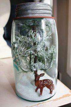 Cute Christmas DIY Snow Globes also make mini bottle snowglobe charms with mini bottles: http://www.ecrafty.com/c-517-mini-glass-bottles.aspx #ecrafty
