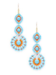 Turquoise Drop Earrings by Miguel Ases at Gilt
