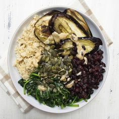 Deliciously Ella's Roasted Aubergine Tahini Bowl More