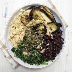 Deliciously Ella's roasted aubergine tahini bowl
