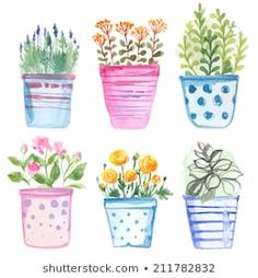 Find Set Flowers Pot Watercolor Vector stock images in HD and millions of other royalty-free stock photos, illustrations and vectors in the Shutterstock collection. Watercolor Cards, Watercolor Illustration, Watercolour Painting, Watercolor Flowers, Painting & Drawing, Watercolors, Flower Doodles, Floral Illustrations, Doodle Art