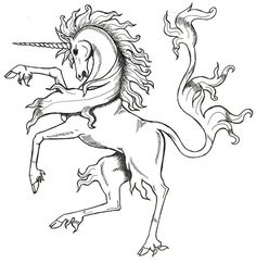 Medieval Unicorn by Tana-san on deviantART Unicorn Fantasy Myth Mythical Mystical Legend Coloring pages colouring adult detailed advanced printable Kleuren voor volwassenen coloriage pour adulte anti-stress kleurplaat voor volwassenen