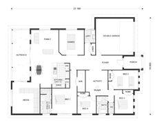 Broadbeach 291 - Award, Our Designs, Queensland Builder, GJ Gardner Homes Queensland Craftsman Floor Plans, House Floor Plans, Custom Home Builders, Custom Homes, Porch And Foyer, Double Garage, South Australia, Building Plans, First Home