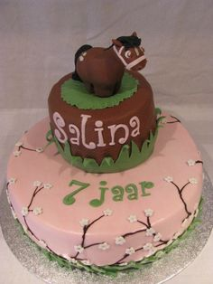 Horse cake with cherry blossoms