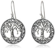 Sterling Silver Oxidized Celtic Tree of Life Dangle Earrings * Check out this great product.