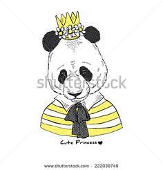 fashion portrait of cute panda princess - stock vector