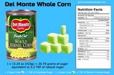 Del Monte Whole Kernel Corn Sugar Content, How Much Sugar in Del Monte Whole Kernel Corn How Much Sugar, Trans Fat, Saturated Fat, Serving Size, Content, Fruit, Food, Essen, Eten